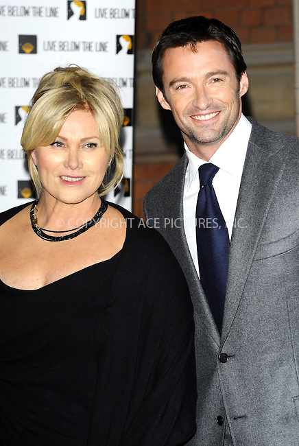 WWW.ACEPIXS.COM . . . . .  ..... . . . . US SALES ONLY . . . . .....April 18 2011, London....Hugh Jackman and Deborra-Lee Furness at the 'Live Below the Line' Charity Benefit at the St Pancras Renaissance Hotel on April 18 2011 in London......Please byline: FAMOUS-ACE PICTURES... . . . .  ....Ace Pictures, Inc:  ..Tel: (212) 243-8787..e-mail: info@acepixs.com..web: http://www.acepixs.com