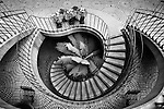 Black and white image of circular staircase at San Francisco's Embarcadero Center