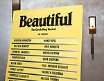 Lobby cast board for Melissa Benoit during her Opening Night debut in 'Beautiful-The Carole King Musical' at the Stephen Sondheim on June 12, 2018 in New York City.