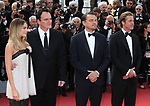 "72nd edition of the Cannes Film Festival in Cannes in Cannes, southern France on May 21, 2019. Red Carpet for the screening of the film ""Once Upon a Time... in Hollywood"" Australian actress Margot Robbie and, US film director, screenwriter, producer, and actor Quentin Tarantino, US actor Leonardo DiCaprio, US actor Brad Pitt on the red carpet.<br /> © Pierre Teyssot / Maxppp"