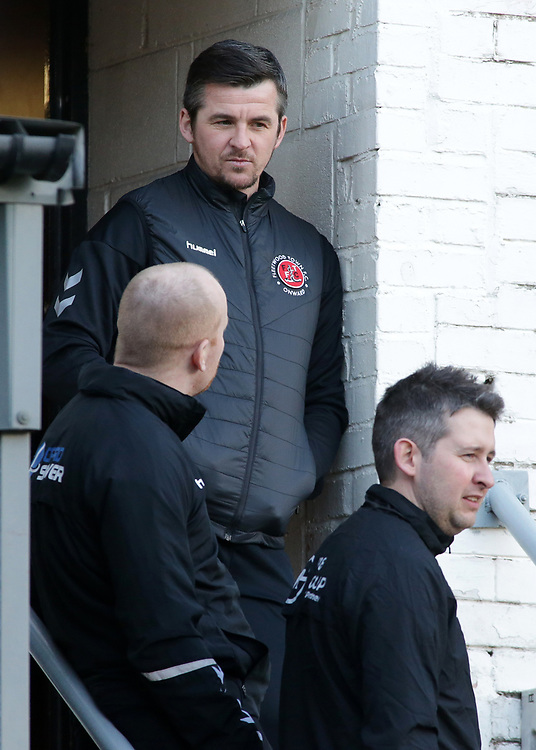 Fleetwood Town manager Joey Barton  looks on from the changing rooms before kick off<br /> <br /> Photographer David Shipman/CameraSport<br /> <br /> The EFL Sky Bet League One - Bradford City v Fleetwood Town - Saturday 9th February 2019 - Valley Parade - Bradford<br /> <br /> World Copyright © 2019 CameraSport. All rights reserved. 43 Linden Ave. Countesthorpe. Leicester. England. LE8 5PG - Tel: +44 (0) 116 277 4147 - admin@camerasport.com - www.camerasport.com