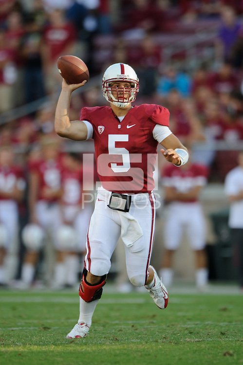 STANFORD, CA - September 4: Stanford quarterback Alex Loukas during the Cardinal's game against Sacramento State at Stanford Stadium.  Stanford defeated Sacramento State, 52-17.
