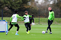 (L-R) Nathan Dyer, Tom Carroll and Mike van der Hoorn of Swansea City in action during the Swansea City Training at The Fairwood Training Ground in Swansea, Wales, UK. Wednesday 30 October  2019