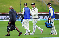 Trent Boult chats with local 12th men Luke Georgeson and Jed Wiggins during day five of the international cricket match between NZ Black Caps and Bangladesh at the Basin Reserve in Wellington, New Zealand on Tuesday, 12 March 2019. Photo: Dave Lintott / lintottphoto.co.nz