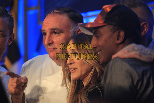 WASHINGTON, DC - DECEMBER 8: Sarah Jessica Parker, Jose Andres and Chef Marcus Samuelsson at her SJP Boutique Opening At MGM National Harbor in Washington, DC on December 8, 2016. <br /> CAP/MPI34<br /> &copy;MPI34/Capital Pictures