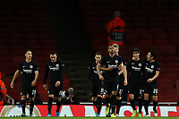 28th November 2019; Emirates Stadium, London, England; UEFA Europa League Football, Arsenal versus Frankfurt; Daichi Kamad of Eintracht Frankfurt celebrates his second goal for 1-2 with Makoto Hasebe - Editorial Use