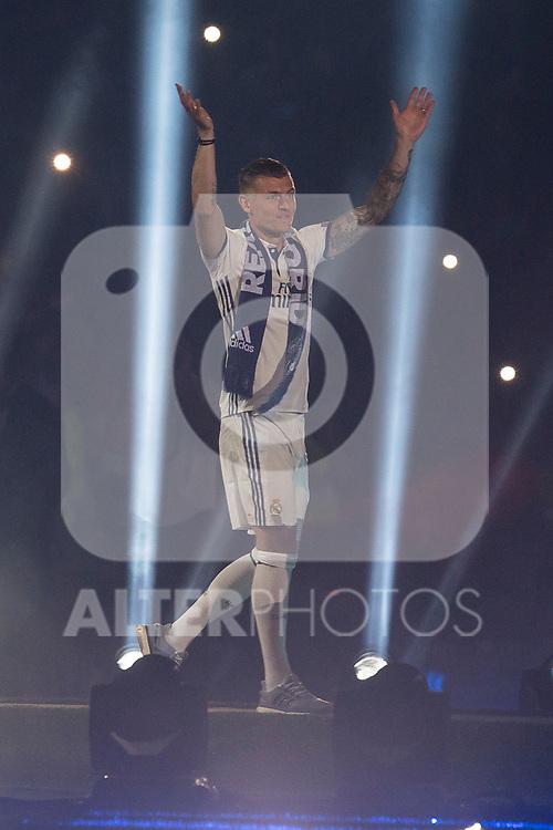Real Madrid Toni Kroos during the celebration of the 13th UEFA Championship at Santiago Bernabeu Stadium in Madrid, June 04, 2017. Spain.<br /> (ALTERPHOTOS/BorjaB.Hojas)