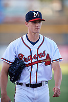Mississippi Braves starting pitcher Kyle Wright (23) walks to the dugout before a game against the Mobile BayBears on May 7, 2018 at Trustmark park in Pearl, Mississippi.  Mobile defeated Mississippi 5-0.  (Mike Janes/Four Seam Images)