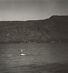 Scan of vintage black & white print. View of Lake George, NY with life guard on float at Silver Bay YMCA Conference Center. Negative file#86-214-#11, 1of1, 1986