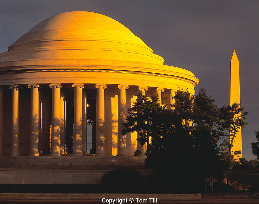 Sunrise Stormlight, Jefferson Memorial & Washington Monument, Washington, D.C.