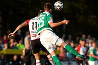 LEER - Voetbal , Werder Bremen - FC Emmen, oefenduel, seizoen 2018--2019, 04-09-2018, FC Emmen speler Reuven Niemeijer in duel met Sebastiaan Langkamp