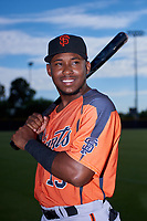 AZL Giants Orange outfielder Raiber Gutierrez (15) poses for a photo before an Arizona League game against the AZL Giants Black on July 19, 2019 at the San Francisco Giants Baseball Complex in Scottsdale, Arizona. The AZL Giants Black defeated the AZL Giants Orange 8-5. (Zachary Lucy/Four Seam Images)