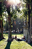 USA, California, San Francisco, people sit on the lawn and enjoy music in the afternoon, Washington Square Park