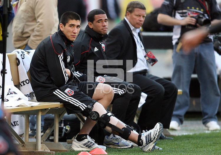 Wounded. Andrew Quinn and Barry Rice injured players of D.C. United during an MLS match against the Chicago Fire on April 17 2010, at RFK Stadium in Washington D.C. Fire won 2-0.