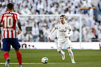 1st February 2020; Estadio Santiago Bernabeu, Madrid, Spain; La Liga Football, Real Madrid versus Atletico de Madrid; Sergio Ramos (Real Madrid)  comes forward against Correa of Atletico