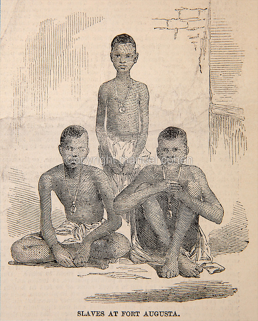 Slaves at Fort Augusta, Port Royal, Jamaica, illustration from the Illustrated London News, 20th June 1857, engraving after a photograph.  In April 1857 a British naval vessel captured the slave ship Zeldina and brought it to Port Royal, freeing the 370 survivors of the 500 Africans who boarded in Angola 46 days earlier. The slaves had been kept in appalling squalid conditions, which were outlined in a letter to the editor which accompanied several illustrations. Copyright © Collection Particuliere Tropmi / Manuel Cohen