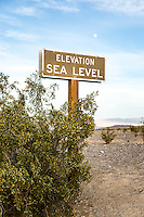 Elevation Sea Level sign near Stovepipe Wells Village. Death Valley National Park, California.