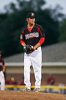 Batavia Muckdogs pitcher Steven Farnworth (55) delivers a pitch during a game against the Mahoning Valley Scrappers on June 24, 2015 at Dwyer Stadium in Batavia, New York.  Batavia defeated Mahoning Valley 1-0 as three Muckdogs pitchers combined to throw a perfect game.  (Mike Janes/Four Seam Images)