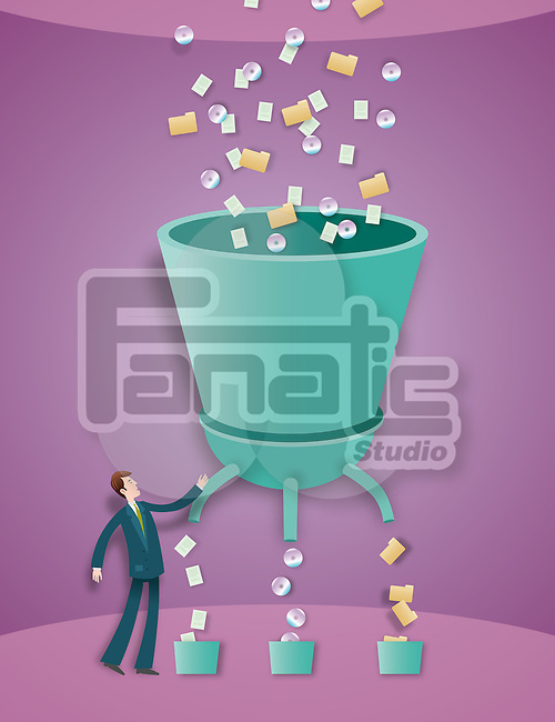 Illustrative image of businessman arranging CD, folders and papers