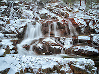 Glen Alpine Falls minutes after fresh snwfall. Lake Tahoe, California