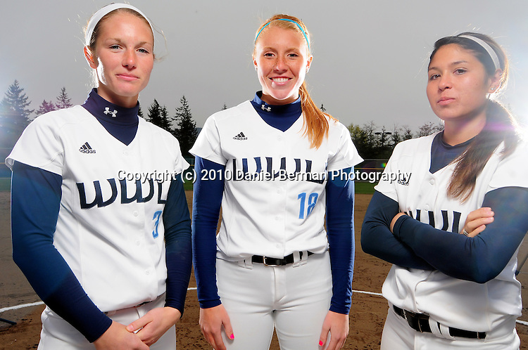 Portraits of Western Washington University pitchers Erika Hendron, Sarah McEnroe and Erika Quint Monday April 12, 2010.