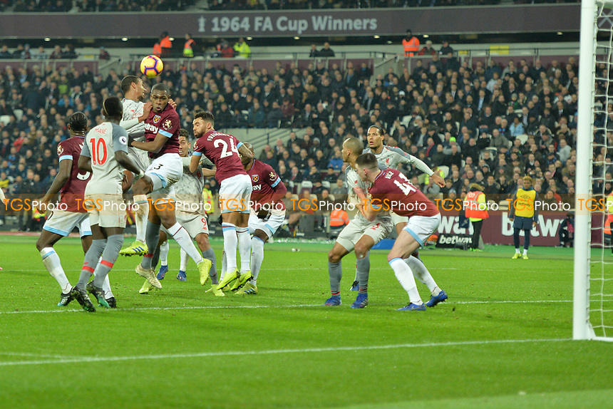 Issa Diop of West Ham United heads a corner away during West Ham United vs Liverpool, Premier League Football at The London Stadium on 4th February 2019