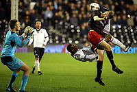Fulham's Moussa Dembele tries a spectacular overhead kick