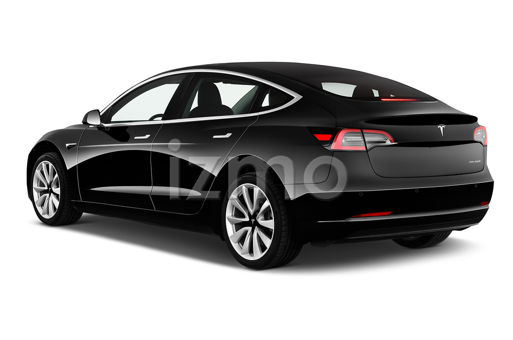 Car pictures of rear three quarter view of a 2018 Tesla Model 3 Long Range 4 Door Sedan angular rear