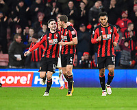 Lewis Cook of AFC Bournemouth left celebrates with Dan Gosling of AFC Bournemouth after Joshua King of AFC Bournemouth right scored during AFC Bournemouth vs Stoke City, Premier League Football at the Vitality Stadium on 3rd February 2018