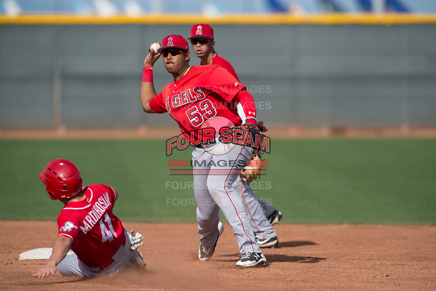 Los Angeles Angels shortstop Kevin Maitan (53) during a Minor League Spring Training game against the Cincinnati Reds at the Cincinnati Reds Training Complex on March 15, 2018 in Goodyear, Arizona. (Zachary Lucy/Four Seam Images)