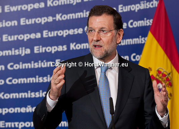 Brussels-Belgium - January 30, 2012 -- Mariano RAJOY BREY, Prime Minister of Spain, briefs the press on his first meeting  (after Spanish elections) with José (Jose) Manuel BARROSO (ri), President of the European Commission; prior to an extraordinary European Council the same day -- Photo: © HorstWagner.eu