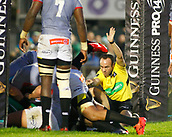 9th September 2017, Galway Sportsground, Galway, Ireland; Guinness Pro14 Rugby, Connacht versus Southern Kings; The referee awards a try to Connacht captain John Muldoon on the stroke of half time