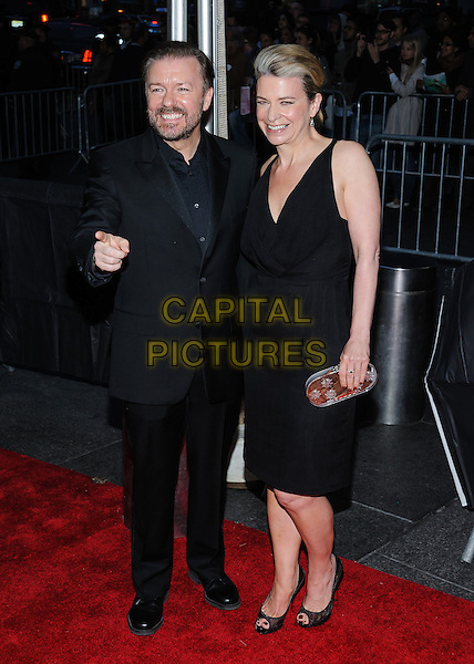 Ricky Gervais & Jane Fallon.Time 100 Gala at The Time Warner Center, New York, New York, USA..April 23rd, 2013.full length black suit dress sleeveless silver clutch bag hand finger pointing couple.CAP/ADM/MSA.©Mario Santoro/AdMedia/Capital Pictures