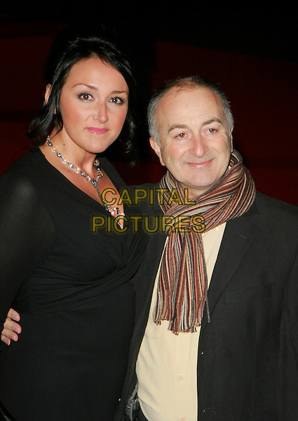 "LOUISE HOBBS & TONY ROBINSON.At the UK Film Premiere of ""Blood Diamond"",.Odeon Leicester Square, London, England,.January 23rd 2007..half length scarf black dress.CAP/AH.©Adam Houghton/Capital Pictures"
