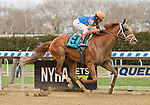 OZONE PARK, NY - APRIL 07: Vino Rosso (KY) #9, ridden by jockey John Velazquez, wins the Wood Memorial Stakes  on Wood Memorial Stakes Day at Aqueduct Race Track on April 7, 2018 in Ozone Park, New York. (Photo by Sue Kawczynski/Eclipse Sportswire/Getty Images)
