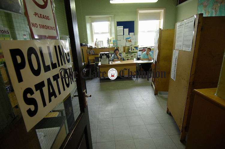 The scene at Doonbeg National School during voting in the General Election with Mary Blake, Presiding officer and Mary O Brien, Poll Clerk. Photograph by John Kelly.