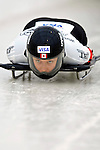 15 December 2006: Lindsay Alcock, from Canada, starts her run at the FIBT Women's World Cup Skeleton Competition at the Olympic Sports Complex on Mount Van Hoevenburg  in Lake Placid, New York, USA. &amp;#xA;&amp;#xA;Mandatory Photo credit: Ed Wolfstein Photo<br />