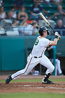 Sam Huff (28) of the Down East Wood Ducks follows through on his swing against the Winston-Salem Dash at Grainger Stadium Field on May 17, 2019 in Kinston, North Carolina. The Dash defeated the Wood Ducks 8-2. (Brian Westerholt/Four Seam Images)