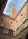 The historic center of Siena, Italy, features a tower that gives you an amazing panoramic view of the city below.