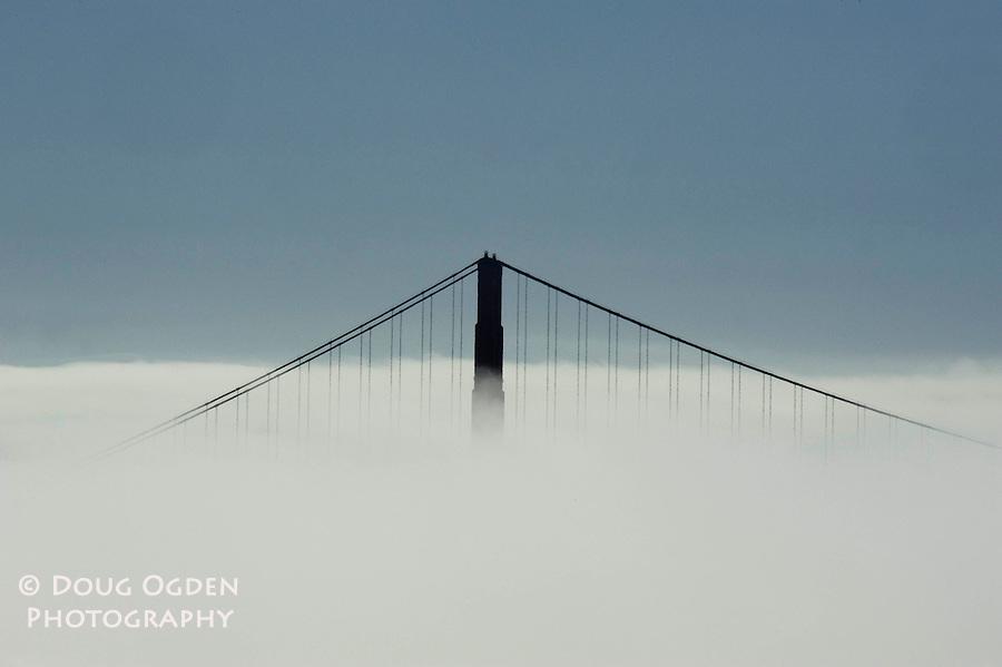 Golden Gate Bridge above the fob of San Francisco Bay