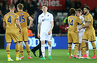 Alfie Mawson of Swansea City looks dejected as he leaves the field after the final whistle of the Premier League match between Swansea City and Tottenham Hotspur at The Liberty Stadium, Swansea, Wales, UK. Wednesday 05 April 2017