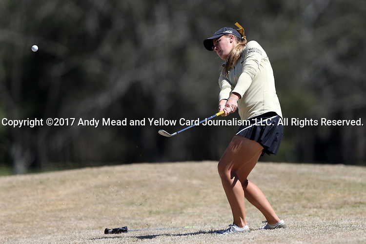 BROWNS SUMMIT, NC - APRIL 01: Wake Forest's Jennifer Kupcho chips on the 1st hole. The second round of the Bryan National Collegiate Women's Golf Tournament was held on April 1, 2017, at the Bryan Park Champions Course in Browns Summit, NC.