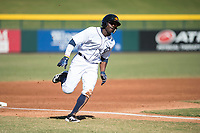 Mesa Solar Sox right fielder Daz Cameron (13), of the Detroit Tigers organization, runs home during an Arizona Fall League game against the Salt River Rafters at Sloan Park on November 9, 2018 in Mesa, Arizona. Mesa defeated Salt River 5-4. (Zachary Lucy/Four Seam Images)