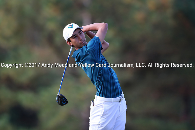 CHAPEL HILL, NC - OCTOBER 07: UNCW's Christian Park on the 2nd tee. The first round of the Tar Heel Intercollegiate Men's Golf Tournament was held on October 7, 2017, at the UNC Finley Golf Course in Chapel Hill, NC.