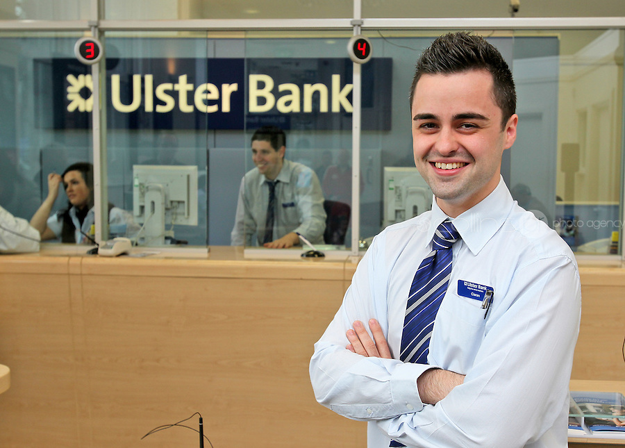 13/09/'11 Ciaran Lambe Cashier at Dundalk, Ireland Branch of Ulster Bank pictured at his work place...Picture Colin Keegan, Collins, Dublin.