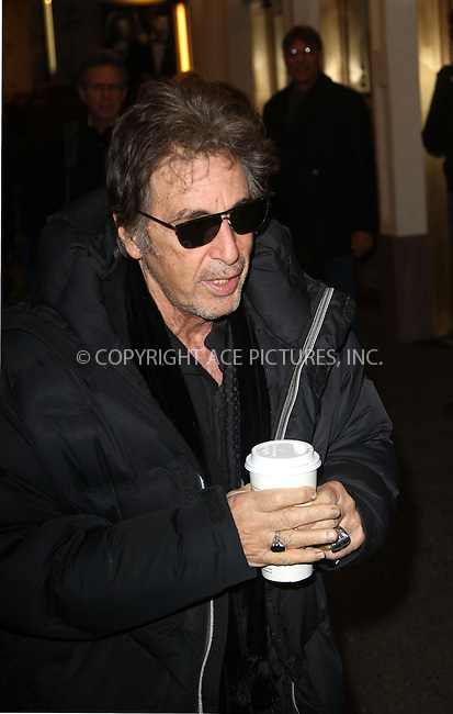 WWW.ACEPIXS.COM....December 18 2012, New York City....Actor Al Pacino arrives to perform in 'Glengarry Glen Ross' at ..the Gerald Schoenfeld Theatre on December 18 2012 in New York City....By Line: Zelig Shaul/ACE Pictures......ACE Pictures, Inc...tel: 646 769 0430..Email: info@acepixs.com..www.acepixs.com