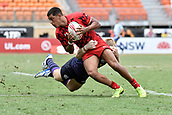2nd February 2019, Spotless Stadium, Sydney, Australia; HSBC Sydney Rugby Sevens; Wales versus Scotland; Rio Dyer of Wales is tackled by Kyle Steyn of Scotland