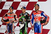 17th March 2018, Losail International Circuit, Lusail, Qatar; Qatar Motorcycle Grand Prix, Saturday qualifying; Marc Marquez, Johann Zarco, Danilo Petrucci pole winners after qualifying