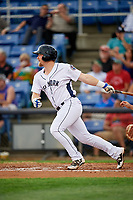 Binghamton Rumble Ponies third baseman Matt Oberste (45) follows through on a swing during a game against the Erie SeaWolves on May 14, 2018 at NYSEG Stadium in Binghamton, New York.  Binghamton defeated Erie 6-5.  (Mike Janes/Four Seam Images)