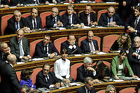 Silvio Berlusconi con le mani sul volto circondato dai suoi senatori dopo il suo intervento<br /> Roma 02-10-2013 Senato. Discorso programmatico del Presidente del Consiglio a cui segue un voto di fiducia per risolvere la crisi di governo.<br /> Speech of the italian premier at the senate and voctation to solve the crisis of the government.<br /> Photo Samantha Zucchi Insidefoto